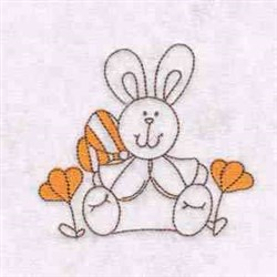 Bunny & Flowers embroidery design