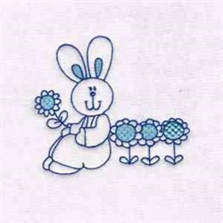 Bunny With Flowers embroidery design