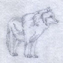 Realistic Wolf embroidery design
