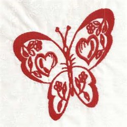Redwork Valentine Butterfly embroidery design