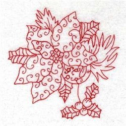 Redwork Xmas Poinsetta embroidery design