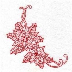 Redwork Xmas Poinsetta embroidery design