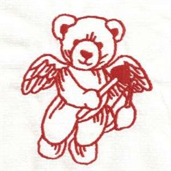 Redwork Valentine Cupid embroidery design
