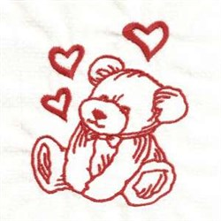 Redwork Valentine Teddy embroidery design