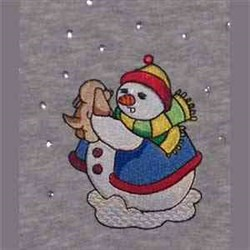 Snowman With Puppy embroidery design