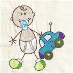 Baby Boy & Car embroidery design