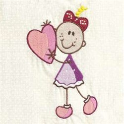 Baby Girl Heart embroidery design