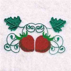Strawberries Swirly embroidery design