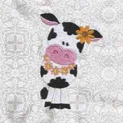 Cow With Flower embroidery design
