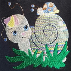 White Snail embroidery design