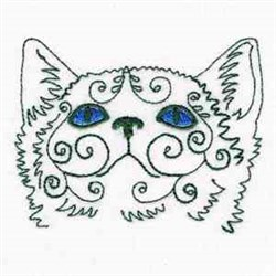 Swirly Cat Face embroidery design