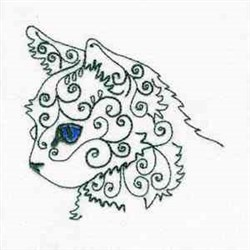 Swirly Kitty Face embroidery design