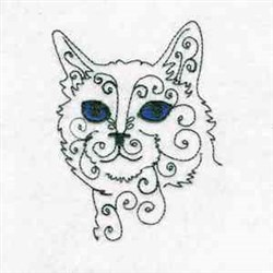 Swirly Cat Head embroidery design