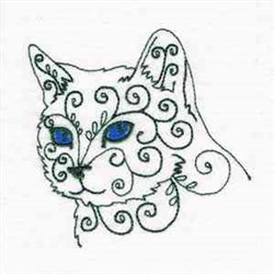 Swirly Cat Stare embroidery design