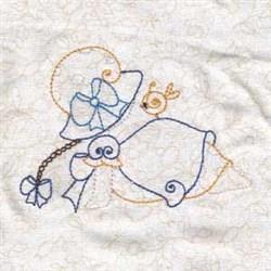 Spring Bonnet Girl embroidery design