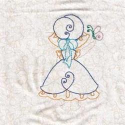 Girl & Butterflies embroidery design