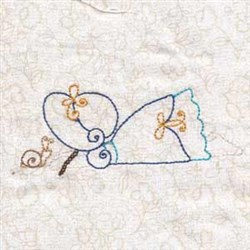 Girl & Snail embroidery design