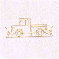 Outline Pickup Truck embroidery design