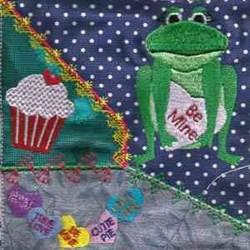 Valentine Frog CQ embroidery design