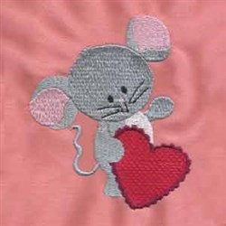 Valentine Mouse Heart embroidery design