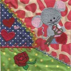 Valentine Mice Rose embroidery design