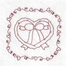 Valentine Heart In Bow embroidery design