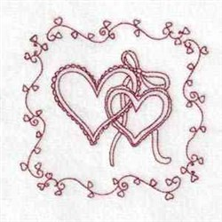 Heart & Ribbon embroidery design