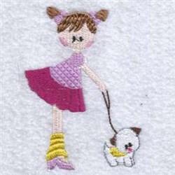 Girl On Dog Walk embroidery design