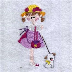 Walking Her Dog embroidery design