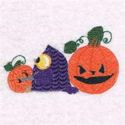 Owl & Pumpkin embroidery design