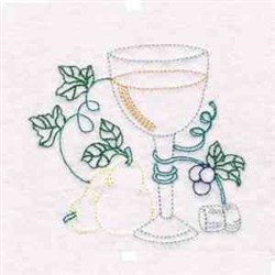 Wine Glass embroidery design