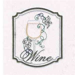 Wine Glass Frame embroidery design