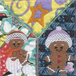 Gingerbread Block embroidery design