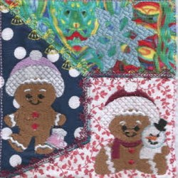 Quilt Block Gingerbread embroidery design