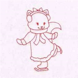 Ice Skate Kitty embroidery design