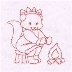 Kitty By Fire embroidery design