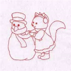 Kitty And Snowman embroidery design