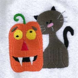 Cat & Pumpkin embroidery design