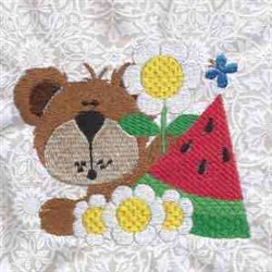 Yummy Bear With Flowers embroidery design