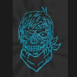 Zombie Pirate Outline embroidery design