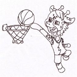 Basketball Giraffe embroidery design