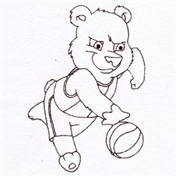 Basketball Bear embroidery design