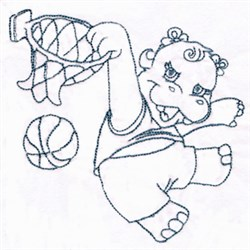 Basketball Hippo embroidery design
