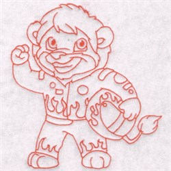 Racer Lion embroidery design