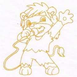 Lion Rockstar embroidery design