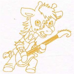 Giraffe  Rockstar embroidery design