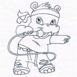 Hippo Rockstar embroidery design