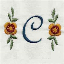 Floral Script Letter C embroidery design