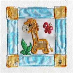 Giraffe Zoo Block embroidery design