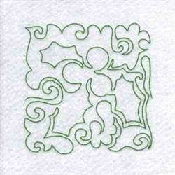 Line Art Holly Block embroidery design